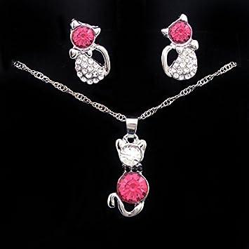 Cdet Women Necklace Earrings Cat Diamond Pendant Girl Chain Collar Ear Studs Party Wedding Jewellery Set Love Gift