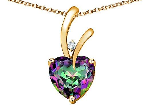Rainbow Mystic Topaz Heart - Star K Heart Shape 8mm Rainbow Mystic Topaz Endless Love Pendant Necklace 10 kt Yellow Gold