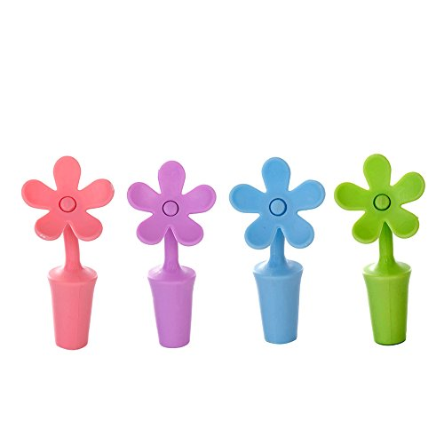 - Honbay Multi-Purpose Silicone Wine Stopper Sunflower Shape Wine Bottle Stopper Perfect for Wine Champagne Beverage Beer and so on (4 PCS Set)