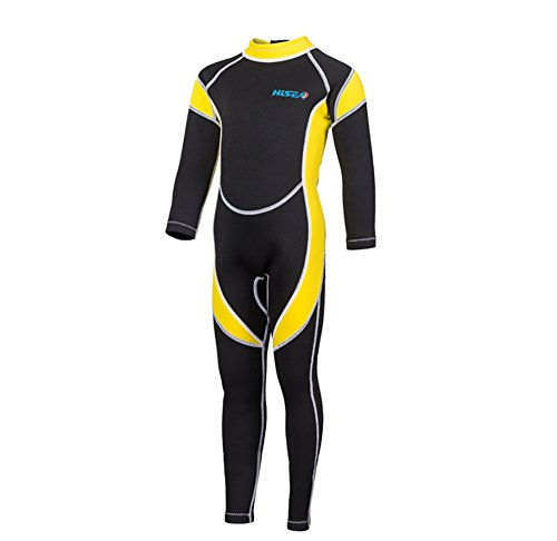 SailBee 2MM Neoprene One Piece Full Wetsuits for Kids Boys Girls Back Zipper Swimsuit UV Protection (M016 Yellow, Size ()