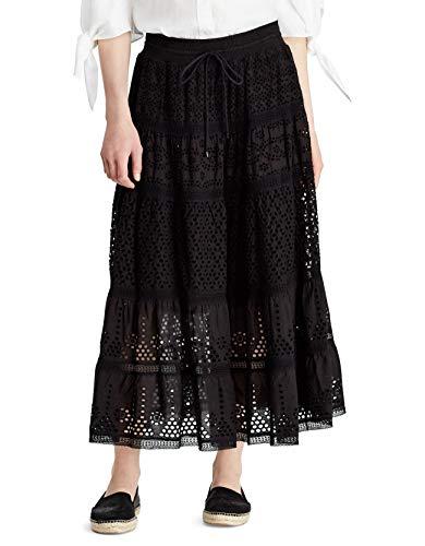 Lauren Ralph Lauren Womens Lorelei Eyelet Long Maxi Skirt Black S -