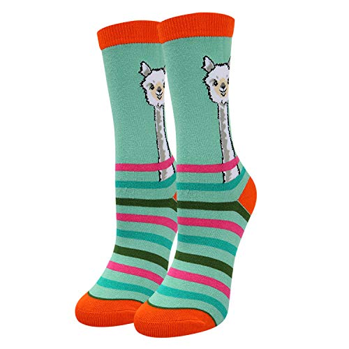 Kids Girls Novelty Crazy Cute Srriped Llama School Cotton Crew Socks