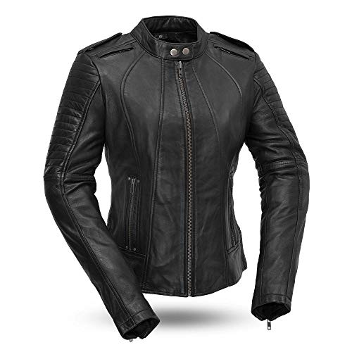First Mfg Co FIL104CHMZ-L-BLK Sexy Biker Ladies Motorcycle Leather Jacket, Large, Black