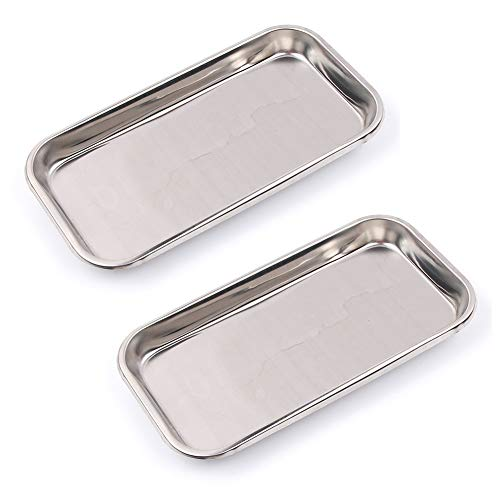 LAJA Imports Medical Tray Stainless Steel Instrument Trays Organizer 2 Pack Dental Procedure Tray Tools