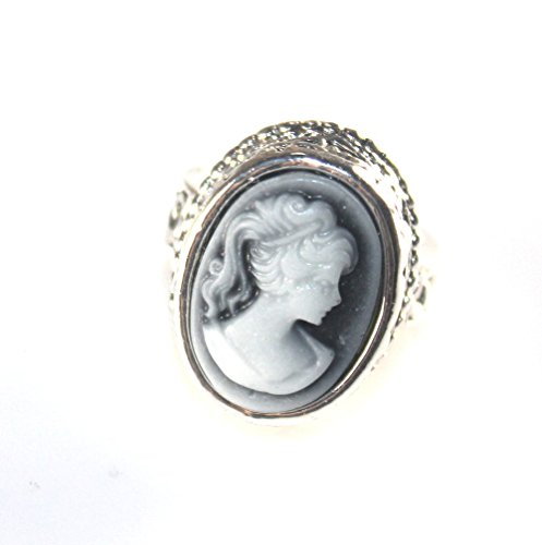 Child Cameo Ring - SilverstoneTX SILVER Vintage Style Black Cameo Beauty Girl Cameo Oval Ring Size 9