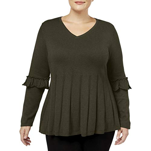 (Style & Co. Womens Plus Knit Ruffle Sleeves Pullover Sweater Green 2X)