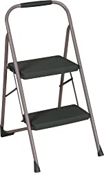 Cosco Two Step Big Step Folding Step Stool with Rubber Hand Grip, Grey