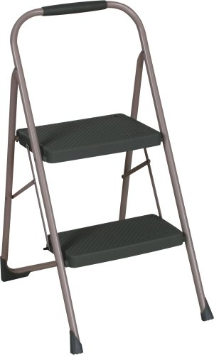 Cosco Two Step Big Step Folding Step Stool with Rubber Hand Grip, Grey Folding Step Stool
