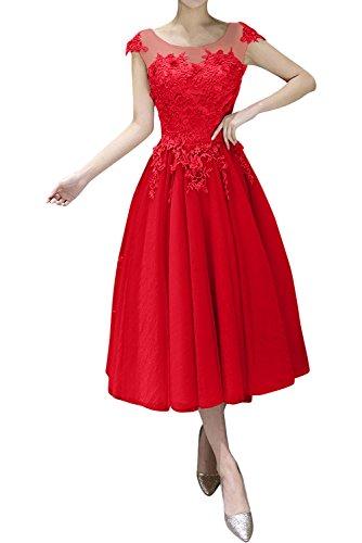 Rot linie Partykleider Braut La A Gruen Wadenlang Festlichkleider Kurz U mia ausschnitt Spitze Abendkleider gpRpOHq