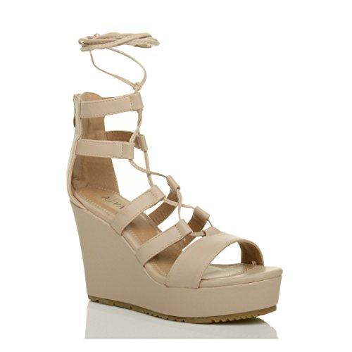 Ajvani Damen Hohe Keilabsatz Riemchen Schnür-Pumps Gladiator Sandalen Schuhe Größe Hautfarbe Matt