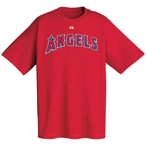 MLB Los Angeles Angels Wordmark T-Shirt, Red, X-Large