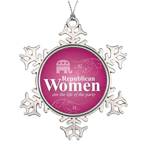 OneMtoss Christmas Snowflake Ornament Tree Branch Decoration are Republican Women are The Life of The Party Metal Christmas Trees -
