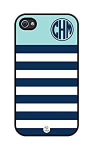iZERCASE Monogram Personalized Turquoise Blue and White Striped Pattern rubber iphone 4 case - Fits iphone 4 & iphone 4s T-Mobile, Verizon, AT&T, Sprint and International (Black) by icecream design