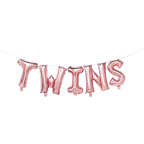 Rose Gold Twins Balloons Letters | Twins Banner for Baby Shower Decorations | Gender Reveal Party Supplies | 16inch for $<!--$7.99-->