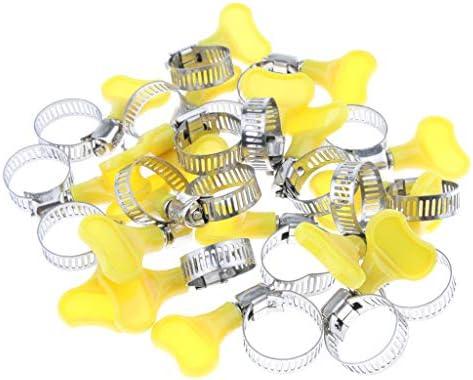 KESOTO 20個のホースクランプ調節可能な8〜29mm範囲のパイプチューブクランプステンレススチールホースクリップ