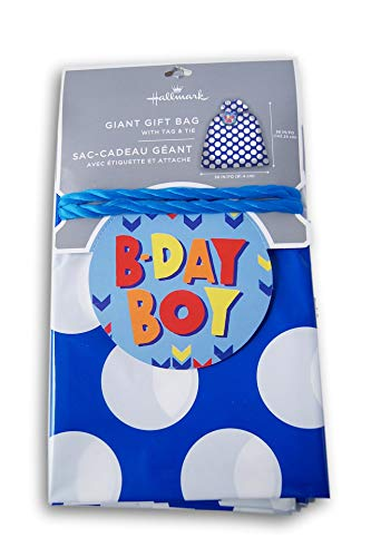 Oversize Tag - Baby Shower Oversize Plastic Bag with Gift Tag - Blue Polka Dots - 36 x 56 Inches