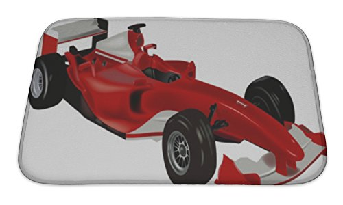 Gear New Bath Rug Mat No Slip Microfiber Memory Foam, F1 Sports Car, 24x17