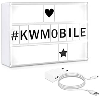 kwmobile Caja de luz LED A5 - Lightbox con cargador USB - Light box con luces de 7 colores y 126 letras negras - Cartel cinematográfico decorativo