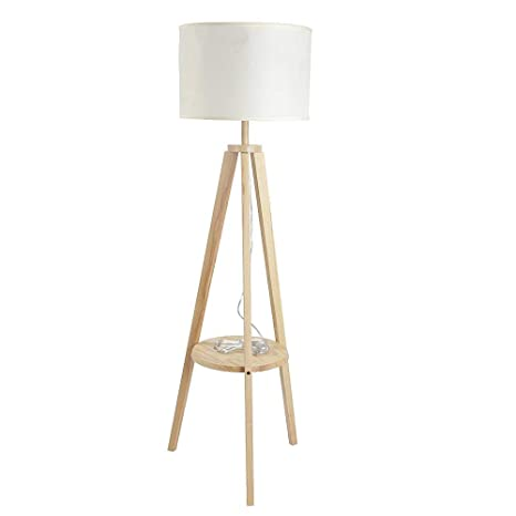 Led Wood Tripod Floor Lamp With Storage Shelves Modern