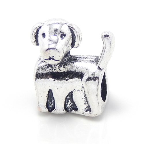Pro Jewelry Puppy Dog Bead Compatible with European Snake Chain Bracelets