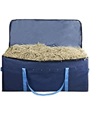 Blue Hay Bale Bag, Hay Bale Storage Bag, Extra Large Tote Hay Bale Carry Bag, Foldable Portable Large Capacity Bale Hay Storage Holder, Waterproof Horse and Livestock Hay Bale Bags with Zipper
