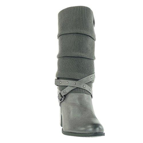 Angkorly - Women's Fashion Shoes Boots - biker - cavalier - bi material - crochet - thong - studded Block high heel 8 CM Grey 0OXxEmp5