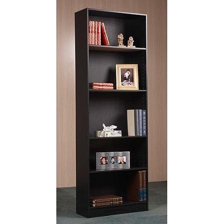 Bookcase 5 Shelf Easy Assembly, In Oak Or Black (Black)