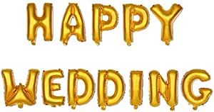 16 inch HAPPY WEDDING Letter Wedding Room Decoration Aluminum Balloon