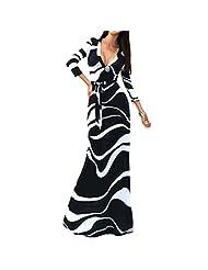 Women's Sexy Long Sleeve Deep V Neck Slim Bodycon Printed Long Gown Maxi Dress Robe