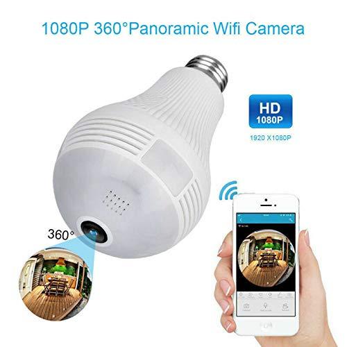 SekyuritiBijon Bulb Camera 360° Panoramic Wireless CCTV Camera and Smart LED Bulb with Bulb Holder Full HD 1080P | Remote View | Motion Detection | 2 Way Communication | Fisheye – Pack of 01 Price & Reviews