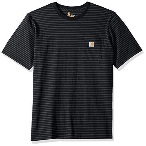 Carhartt Men's Big-Tall K87 Workwear Pocket Short Sleeve T-Shirt (Regular and Big-Tall & Tall Sizes), black stripe, 2X-Large/Tall