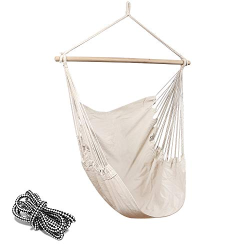 Chihee Hammock Chair 330 Pound Capacity Large Hammock Chair Relax Hanging Swing Chair Cotton Weave for Superior Comfort Durability Perfect for Indoor Outdoor Home Bedroom Patio Deck Yard Garden