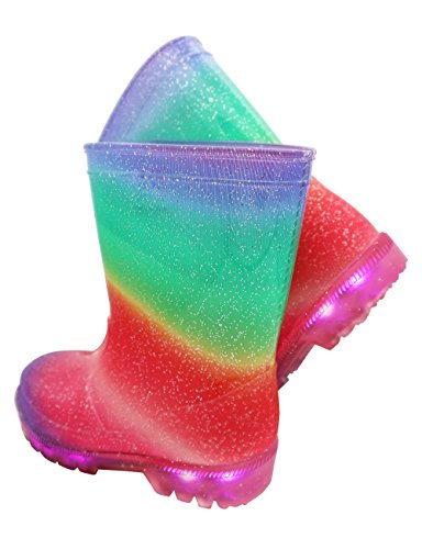 TQ Homebase Girls Rain Boots in Rainbow Pattern with Light up and Fully Waterproof at Sizes for Toddlers and Kids 10 M by TQ Homebase (Image #5)