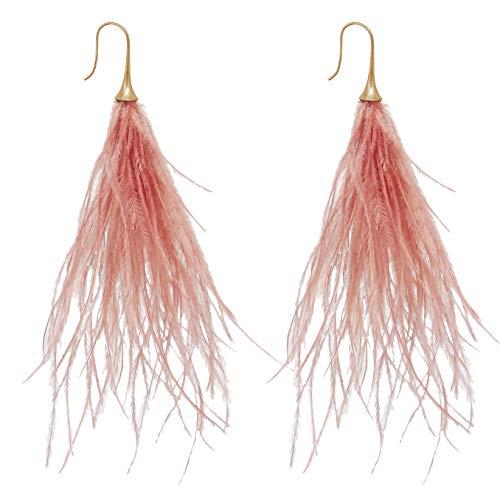 L'VOW Women' Bohemian Style Long Dangle Thread Tassels Feather Earrings for Wedding Party (Dust Pink)