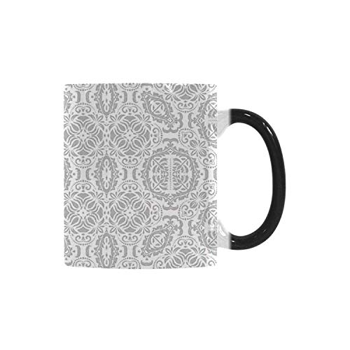 Grey Decor Utility Morphing Mug,Lace Victorian Damask Antique Baroque Design with Oriental Effects Renaissance Art for Home,10.3OZ