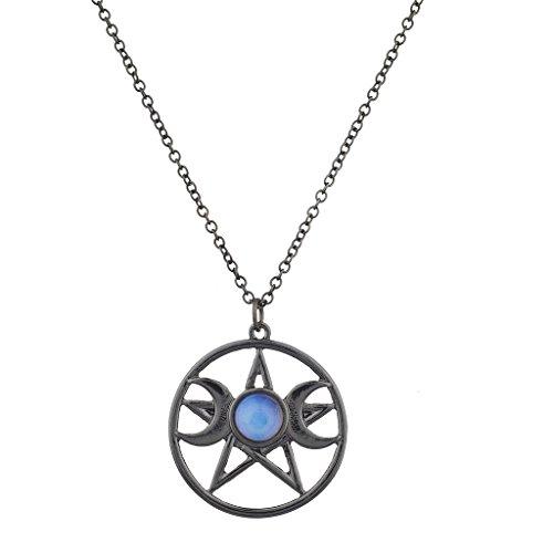 - Lux Accessories Double Crescent Moon Pentagram BlueOpal Celestial Charm Necklace