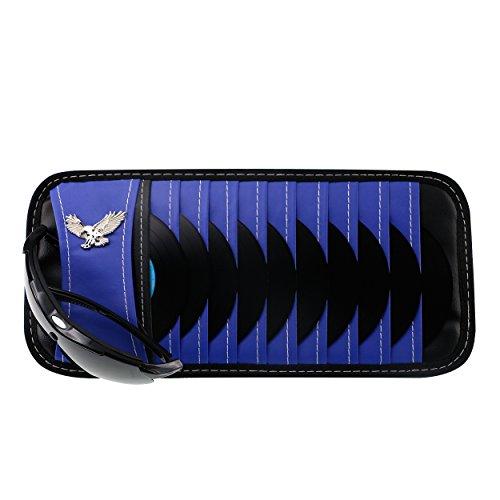 Vulcan-x CD DVD Sun Visor Organizer Holder Car Detachable PU Auto Multi-Purpose Bag for Sunglasses Eagle Badge vehicle-mounted 10 CD DVD - Prado Sunglasses