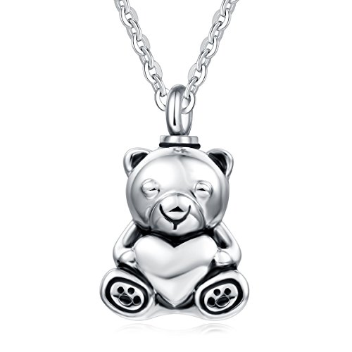 (UNY Stainless Steel Teddy Bear Pet Urn Ashes Pendant Memorial Ash Keepsake Cremation Jewelry Necklace)