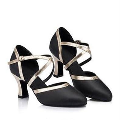 YFF Latin Dance Schuhe Frau Heels 8 cm Armband Tango Salsa Mädchen Ballsaal, Schwarz 5 cm Absatz, 4.5