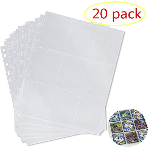 LinaLife 20 Pack 9-Pocket 11 Hole Series Page Protector for Standard Size Cards Trading Game Card Storage Wallets Sleeves Album Pages Collection 180 Pockets Set for Skylanders, Pokemon, Top Trumps ()