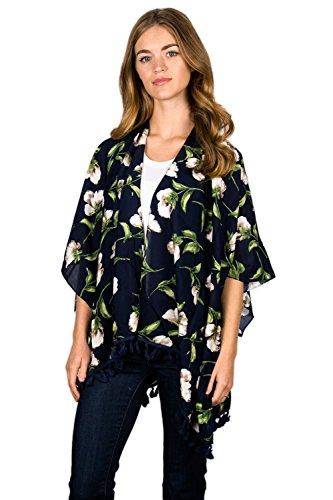 薬を飲むリングレット超音速LullaコレクションMidnight Floral Kimono withタッセル