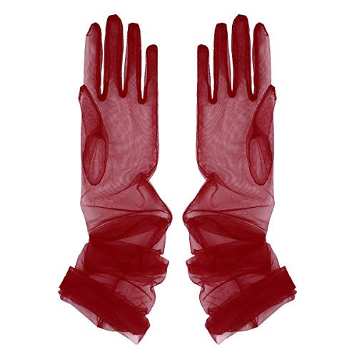 IEFIEL Women Wedding Bridal Gloves Evening Party Transparent Opera Gloves Burgundy One Size