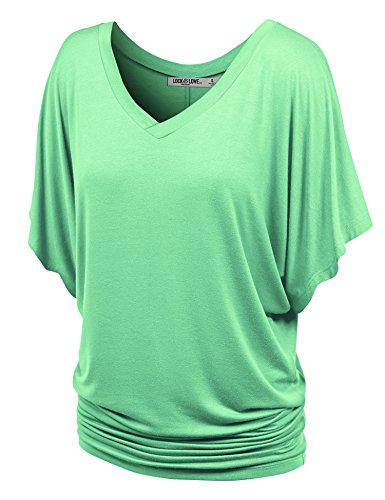 Lock and Love WT1038 Womens V Neck Short Sleeve Dolman Top XL - Jersey Top V-neck Ruched
