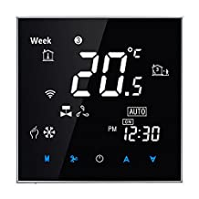 Fan Coil Thermostat,BECA 95~240VAC Four Pipe Heating/Cooling LCD Digital Touch Screen 5+2 Weekly Programmable Fan Coil/FCU/Fan Coil Unit/Central Air Conditioning/HVAC Room Thermostat (Black)