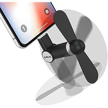 iUKUS Mini Phone Fan, [180 Rotating] Portable Mini Cooler Mobile Phone Fan Compatible with iPhone XS/XR/X/8/8+/7/7+/6, iPad, iPod (Black)
