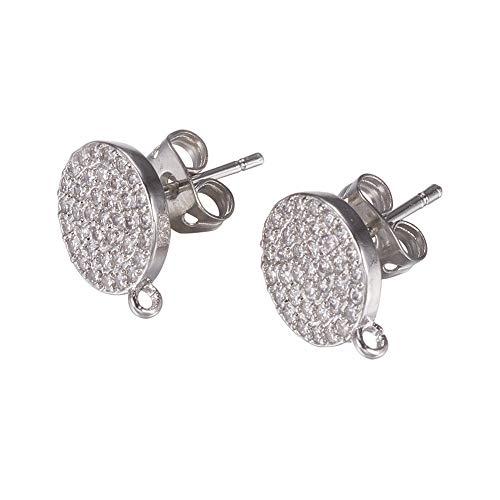 - PH PandaHall 10 PCS(5 Pairs) Brass Cubic Zirconia Ear Stud, Flat Round Rhinestone Setting Earring Back Posts, Platinum