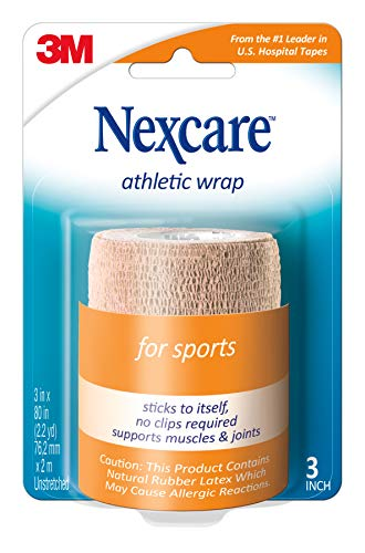Nexcare Athletic Wrap, 3 Inch x 5-Yard Stretched, Tan Color, 1 Count (Nexcare Athletic Wrap)