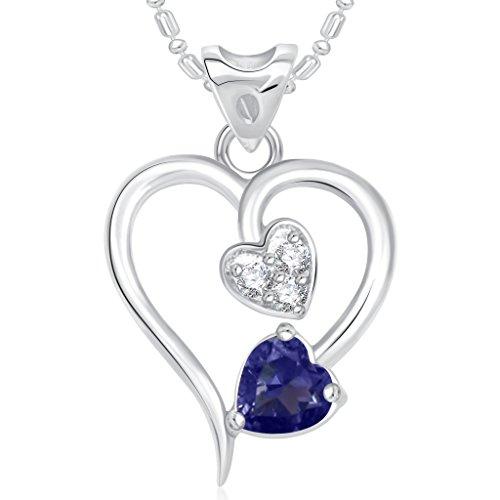 VK Jewels Twice Heart Valentine Rhodium Plated Pendant – P1761R [VKP1761R]