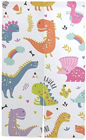 MASAI のれん おしゃれ 目隠し 突っ張り棒付き 恐竜柄 86×143cm