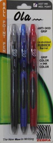 Zerba Ola 3-pack Ball Point Pens * Black * Blue * - Stores Las Olas